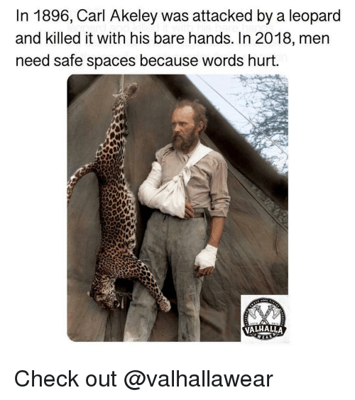 Killed It: In 1896, Carl Akeley was attacked by a leopard  and killed it with his bare hands. In 2018, mern  need safe spaces because words hurt.  VALHALLA Check out @valhallawear