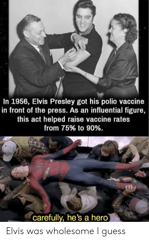 Guess, Wholesome, and Elvis Presley: In 1956, Elvis Presley got his polio vaccine  in front of the press. As an influential figure,  this act helped raise vaccine rates  from 75% to 90%.  carefully, he's a hero Elvis was wholesome I guess