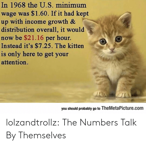 Tumblr, Blog, and Minimum Wage: In 1968 the U.S. minimum  wage was $1.60. If it had kept  up with income growth &  distribution overall, it would  now be $21.16 per hour.  Instead it's $7.25. The kitten  is only here to get your  attention.  you should probably go to TheMetaPicture.com lolzandtrollz:  The Numbers Talk By Themselves