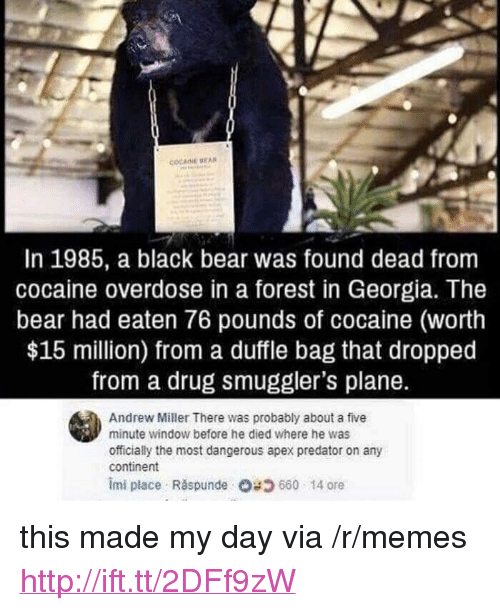 "Memes, Apex, and Bear: In 1985, a black bear was found dead from  cocaine overdose in a forest in Georgia. The  bear had eaten 76 pounds of cocaine (worth  $15 million) from a duffle bag that dropped  from a drug smuggler's plane.  Andrew Miller There was probably about a five  minute window before he died where he was  officially the most dangerous apex predator on any  continent  imi place Răspunde 660-14 ore <p>this made my day via /r/memes <a href=""http://ift.tt/2DFf9zW"">http://ift.tt/2DFf9zW</a></p>"