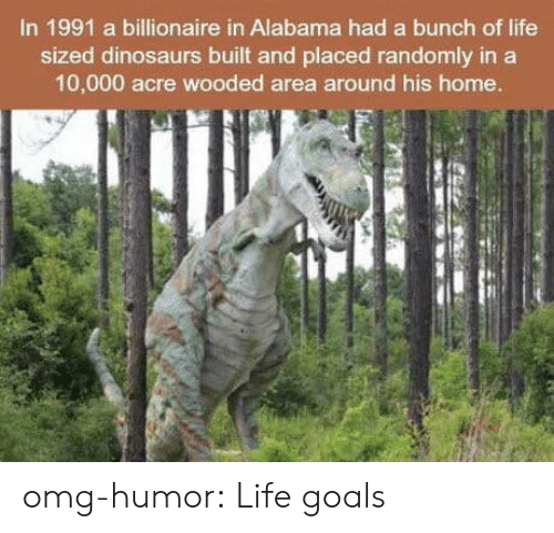 Goals, Life, and Omg: In 1991 a billionaire in Alabama had a bunch of life  sized dinosaurs built and placed randomly in a  10,000 acre wooded area around his home. omg-humor:  Life goals