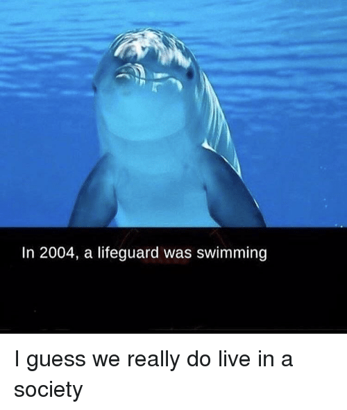 Guess, Live, and Dank Memes: In 2004, a lifeguard was swimming
