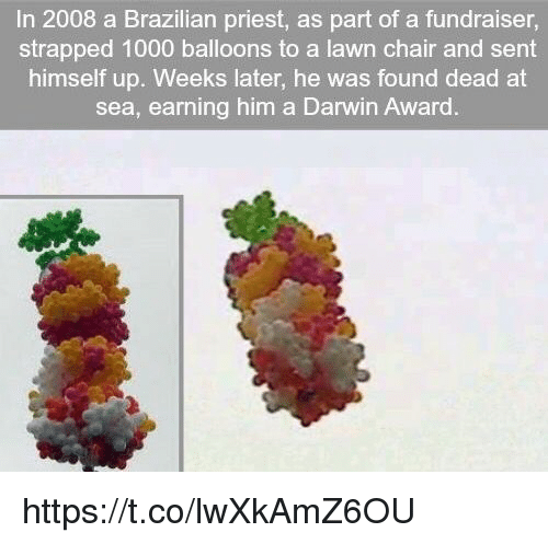 Brazilian, Chair, and Darwin: In 2008 a Brazilian priest, as part of a fundraiser,  strapped 1000 balloons to a lawn chair and sent  himself up. Weeks later, he was found dead at  sea, earning him a Darwin Award https://t.co/lwXkAmZ6OU