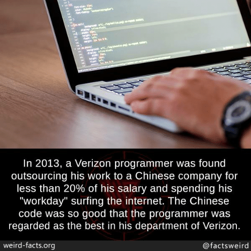 "surfing: In 2013, a Verizon programmer was found  outsourcing his work to a Chinese company for  less than 20% of his salary and spending his  ""workday"" surfing the internet. The Chinese  code was so good that the programmer was  regarded as the best in his department of Verizon  weird-facts.org  @factsweird"