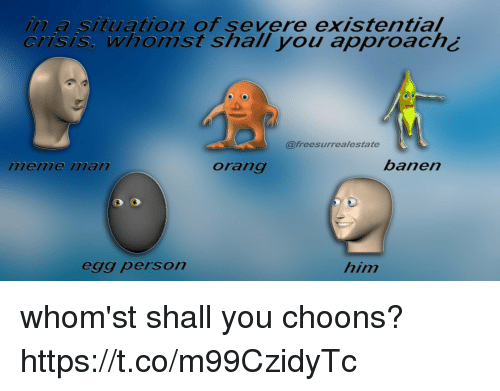 Him, Crisis, and You: in a situation of severe existential  crisis, whomst shall you approach¿  @freesurrealestate  menme ilan  orang  banen  egg person  him whom'st shall you choons? https://t.co/m99CzidyTc