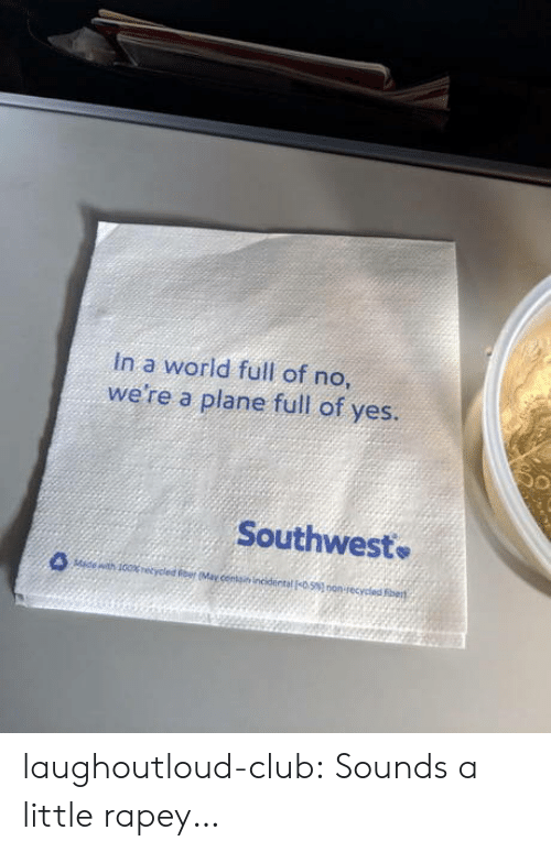 Club, Tumblr, and Blog: In a world full of no  we're a plane full of yes.  Southwest laughoutloud-club:  Sounds a little rapey…