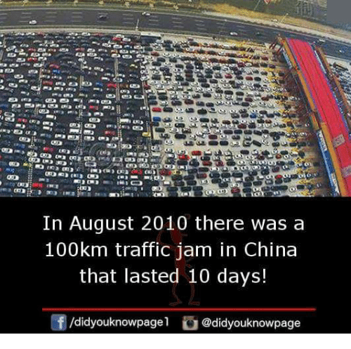 traffic jam: In August 2010 there was a  100km traffic jam in China  that lasted 10 days!  /didyouknowpagel。@didyouknowpage