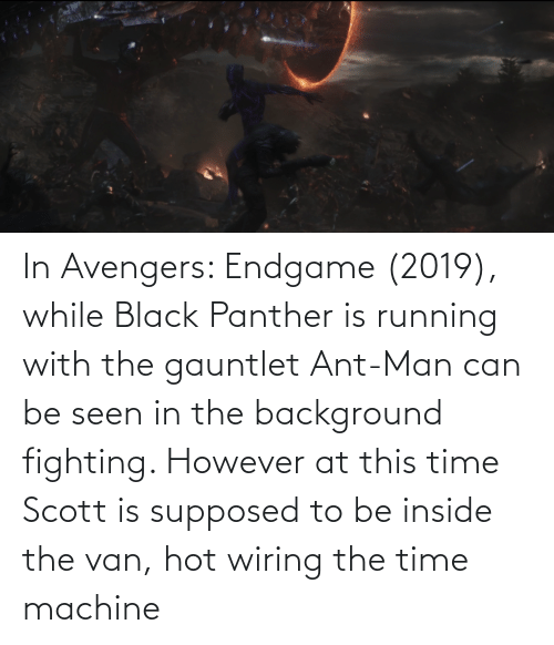 Black Panther: In Avengers: Endgame (2019), while Black Panther is running with the gauntlet Ant-Man can be seen in the background fighting. However at this time Scott is supposed to be inside the van, hot wiring the time machine