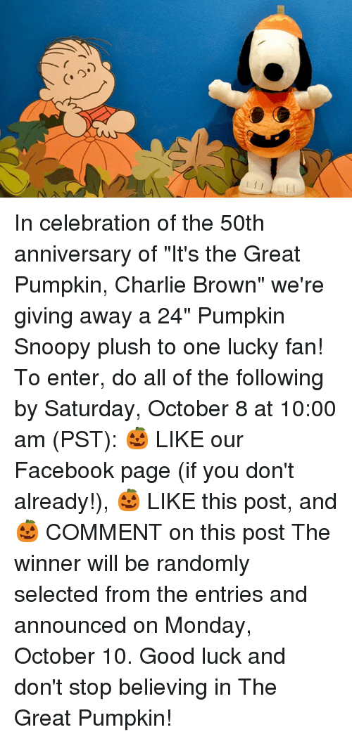 """it's the great pumpkin charlie brown: In celebration of the 50th anniversary of """"It's the Great Pumpkin, Charlie Brown"""" we're giving away a 24"""" Pumpkin Snoopy plush to one lucky fan!   To enter, do all of the following by Saturday, October 8 at 10:00 am (PST): 🎃 LIKE our Facebook page (if you don't already!), 🎃 LIKE this post, and 🎃 COMMENT on this post   The winner will be randomly selected from the entries and announced on Monday, October 10. Good luck and don't stop believing in The Great Pumpkin!"""