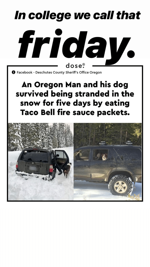 College, Facebook, and Fire: In college we call that  frida  dose0  Facebook - Deschutes County Sheriff's Office Oregon  An Oregon Man and his dog  survived being stranded in the  snow for five days by eating  Taco Bell fire sauce packets.