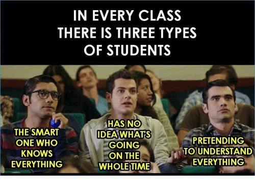 Memes, Time, and 🤖: IN EVERY CLASS  THERE IS THREE TYPES  OF STUDENTS  THE SMART  ONE WHO  KNOWS  EVERYTHING  HAS NO  AWHATS  GOING  ON THE  DE  PRETENDING  TO UNDERSTAND  EVERYTHING  WHOLE TIME