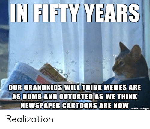 Dumb, Memes, and Cartoons: IN FIFTY YEARS  OUR GRANDKIDS WILL THINK MEMES ARE  AS DUMB AND OUTDATED AS WE THINK  NEWSPAPER CARTOONS ARE NOW  made on imgur Realization