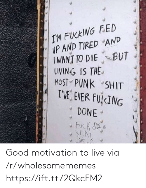 Most: IN FUCKING FED  UP AND TIRED AND  IWANT TO DIE BUT  LINING IS THE  MOST PUNK SHIT  I'VE EVER FUKING  DONE  FucK  YEA  LiVE  FroR  CAVA (8  K Good motivation to live via /r/wholesomememes https://ift.tt/2QkcEM2