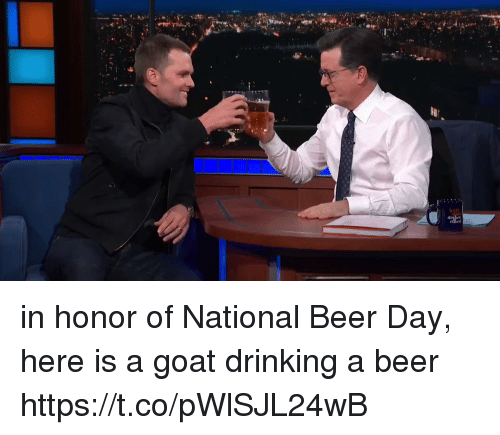 Beer, Drinking, and Tom Brady: in honor of National Beer Day, here is a goat drinking a beer https://t.co/pWlSJL24wB