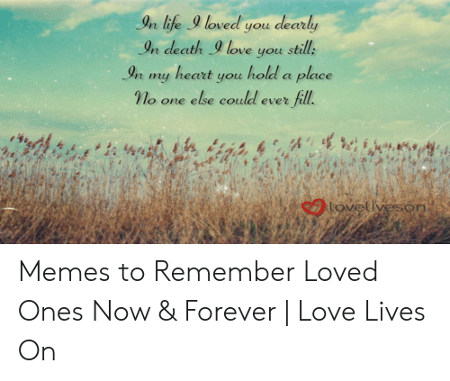 Love Of My Life Meme: In life loved you dearly  In death9 love you still:  In my heart you hold a place  γ o one else could ever fill.  n ufe  caovetiveson Memes to Remember Loved Ones Now & Forever   Love Lives On