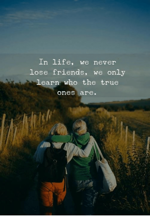 Friends, Life, and True: In life, we never  lose friends, we only  learn who the true  ones are.