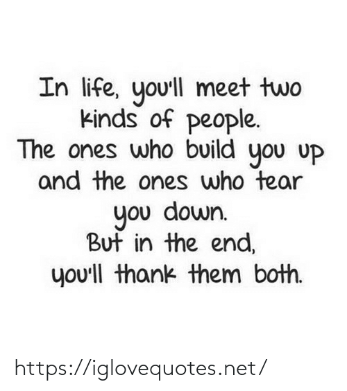 Life, Net, and Who: In life, yo'll meet two  kinds of people.  The ones who build you uP  and the ones who tear  you down.  But in the end,  you'll thank them both. https://iglovequotes.net/