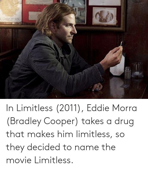 To Name: In Limitless (2011), Eddie Morra (Bradley Cooper) takes a drug that makes him limitless, so they decided to name the movie Limitless.