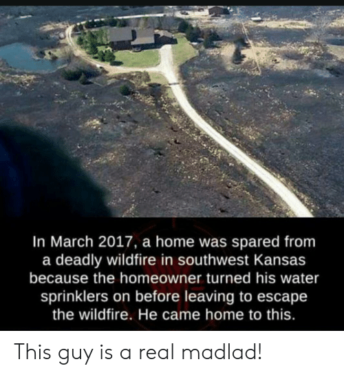 Home, Southwest, and Water: In March 2017, a home was spared from  a deadly wildfire in southwest Kansas  because the homeowner turned his water  sprinklers on before leaving to escape  the wildfire. He came home to this. This guy is a real madlad!