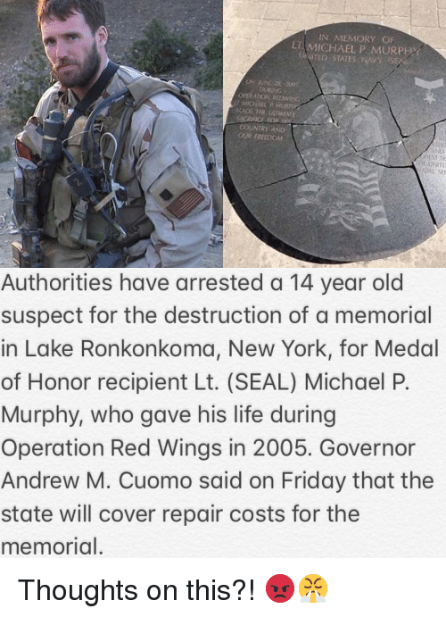 Friday, Life, and Memes: IN MEMORY OF  LT MICHAEL P. MURPHY  OPERATION REDWING  MADE THE LARMA  COUNTRY AND  OUR TREEDOM  VA SE  Authorities have arrested a 14 year old  suspect for the destruction of a memorial  in Lake Ronkonkoma, New York, for Medal  of Honor recipient Lt. (SEAL) Michael P.  Murphy, who gave his life during  Operation Red Wings in 2005. Governor  Andrew M. Cuomo said on Friday that the  state will cover repair costs for the  memorial. Thoughts on this?! 😡😤