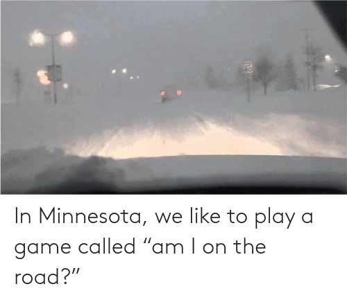 "play: In Minnesota, we like to play a game called ""am I on the road?"""