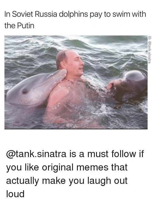 in soviet russia: In Soviet Russia dolphins pay to swim with  the Putin @tank.sinatra is a must follow if you like original memes that actually make you laugh out loud