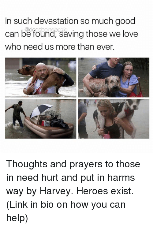 Existance: In such devastation so much good  can be found, saving those we love  who need us more than ever. Thoughts and prayers to those in need hurt and put in harms way by Harvey. Heroes exist. (Link in bio on how you can help)