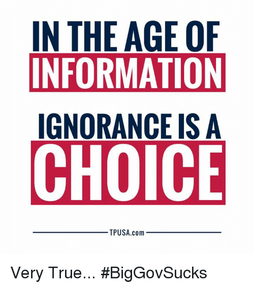 Memes, True, and Information: IN THE AGE OF  INFORMATION  IGNORANCE IS A  CHOICE  TPUSA.com Very True... #BigGovSucks