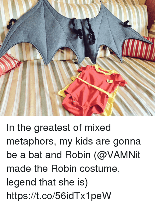 metaphors: In the greatest of mixed metaphors, my kids are gonna be a bat and Robin (@VAMNit made the Robin costume, legend that she is) https://t.co/56idTx1peW