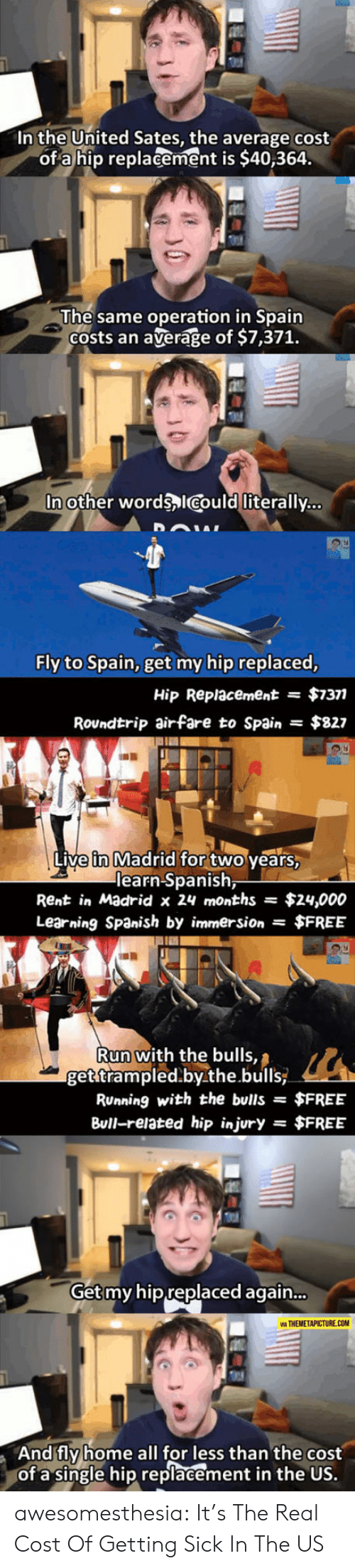 Costs: In the United Sates, the average cost  of a hip replacement is $40,364.  The same operation in Spain  Costs an  average of $7,371.  In other words ICould literally...  Fly to Spain, get my hip replaced,  $7377  Hip Replacement  =  Roundtrip airfare to Spain  $827  Live in Madrid for two years,  learn Spanish,  Rent in Madrid x 24 months  $24,000  Learning Spanish by immersion $FREE  Run with the bulls,  get trampled.by.the.bulls  RUnning with the bulls =  $FREE  Bull-related hip injury  $FREE  =  Get my hip replaced again...  VIA THEMETAPICTURE.COM  And fly home all for less than the cost  of a single hip replacement in the US. awesomesthesia:  It's The Real Cost Of Getting Sick In The US