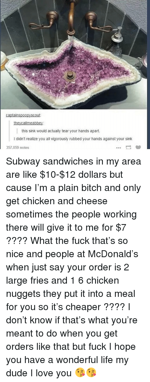 Bitch, Dude, and Ironic: in  this sink would actually tear your hands apart.  l didn't realize you all vigorously rubbed your hands against your sink  357,059 notes Subway sandwiches in my area are like $10-$12 dollars but cause I'm a plain bitch and only get chicken and cheese sometimes the people working there will give it to me for $7 ???? What the fuck that's so nice and people at McDonald's when just say your order is 2 large fries and 1 6 chicken nuggets they put it into a meal for you so it's cheaper ???? I don't know if that's what you're meant to do when you get orders like that but fuck I hope you have a wonderful life my dude I love you 😘😘