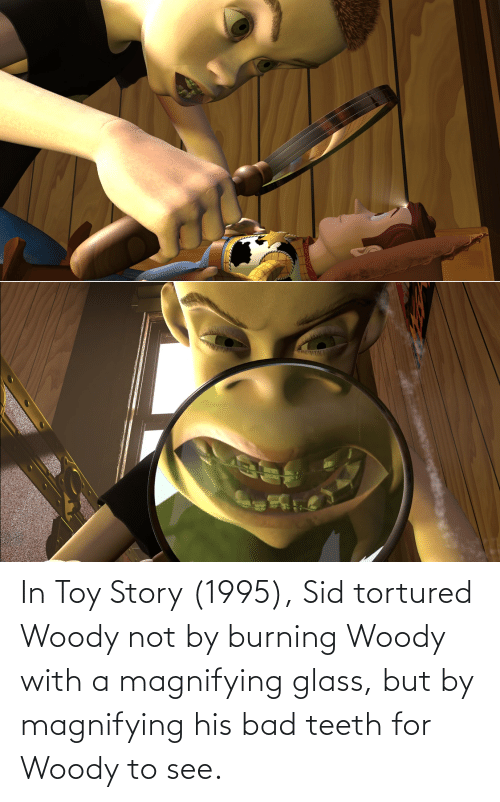 toy: In Toy Story (1995), Sid tortured Woody not by burning Woody with a magnifying glass, but by magnifying his bad teeth for Woody to see.