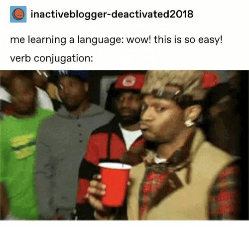 Wow, Language, and Easy: inactiveblogger-deactivated2018  me learning a language: wow! this is so easy!  verb conjugation: