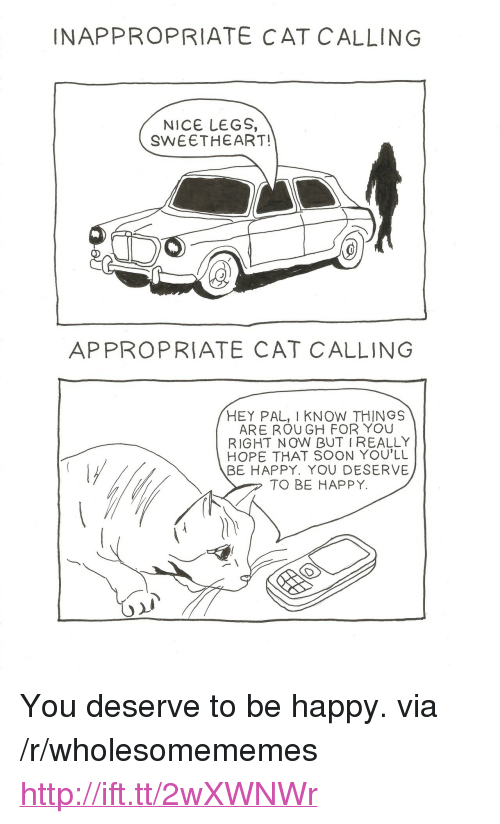 """Soon..., Happy, and Http: INAPPROPRIATE CAT C ALLING  NICE LEGS,  SWEETHEART!  APPROPRIATE CAT CALLING  HEY PAL, I KNOW THINGS  ARE ROU GH FOR YOU  RIGHT N OW BUT IREALLY  HOPE THAT SOON YOU'LL  BE HAPPY. YOU DESERVE  TO BE HAPPY. <p>You deserve to be happy. via /r/wholesomememes <a href=""""http://ift.tt/2wXWNWr"""">http://ift.tt/2wXWNWr</a></p>"""