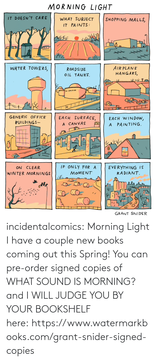 Spring: incidentalcomics: Morning Light I have a couple new books coming out this Spring! You can pre-order signed copies of WHAT SOUND IS MORNING? and I WILL JUDGE YOU BY YOUR BOOKSHELF here:https://www.watermarkbooks.com/grant-snider-signed-copies