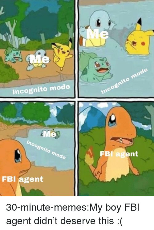 Incognito Mode: Incognito mode  Me  FBI agent  FBI agent 30-minute-memes:My boy FBI agent didn't deserve this :(