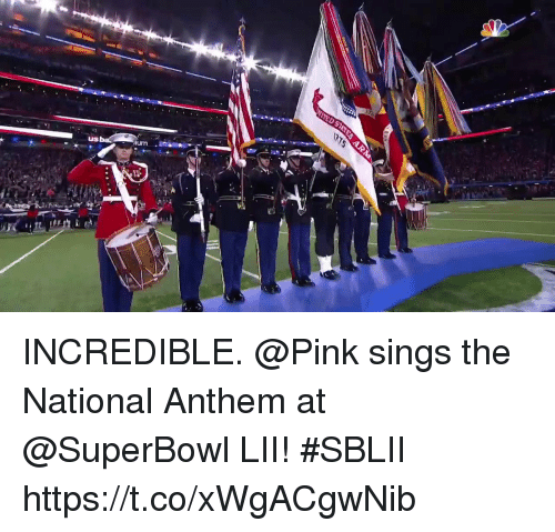 Memes, National Anthem, and Pink: INCREDIBLE.  @Pink sings the National Anthem at @SuperBowl LII! #SBLII https://t.co/xWgACgwNib