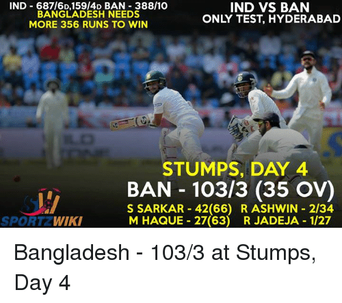 Memes, Wiki, and 🤖: IND 687/6D, 159 4D BAN 388/10  IND VS BAN  BANGLADESH NEEDS  ONLY TEST, HYDERABAD  MORE 356 RUNS TO WIN  STUMPS, DAY 4  BAN 103/3 (35 ov)  S SARKAR 42 (66) R ASHWIN 2134  M HAQUE 27(63) R JADEJA 1/27  SPORT WIKI Bangladesh - 103/3 at Stumps, Day 4