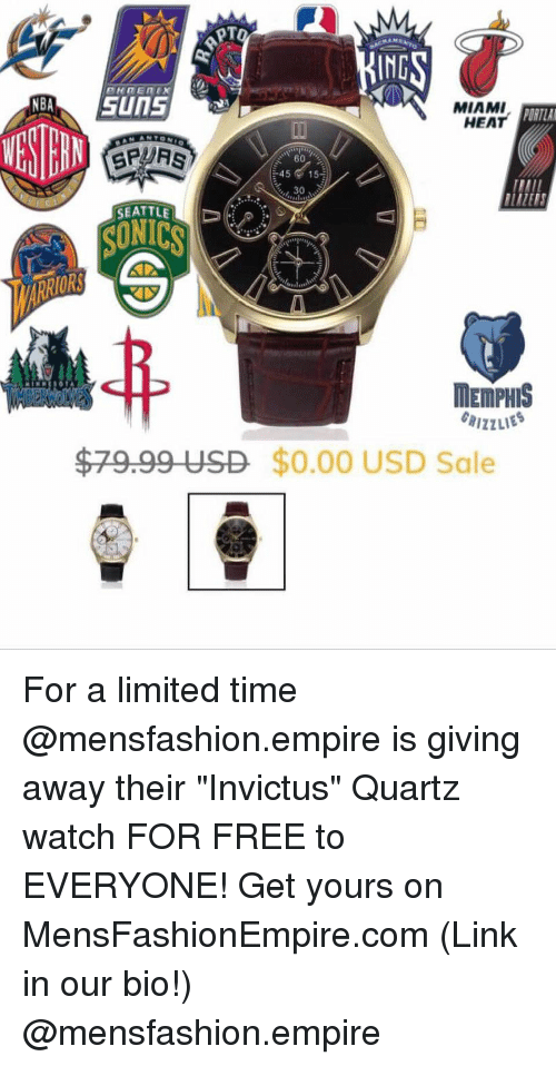 "Basketball, Empire, and Miami Heat: IND  MIAMI  HEAT  ORTLA  4515  30  SEATTLE  SUNICS  ORS  MEMPHIS  $79.99 USD $0.00 USD Sale For a limited time @mensfashion.empire is giving away their ""Invictus"" Quartz watch FOR FREE to EVERYONE! Get yours on MensFashionEmpire.com (Link in our bio!) @mensfashion.empire"