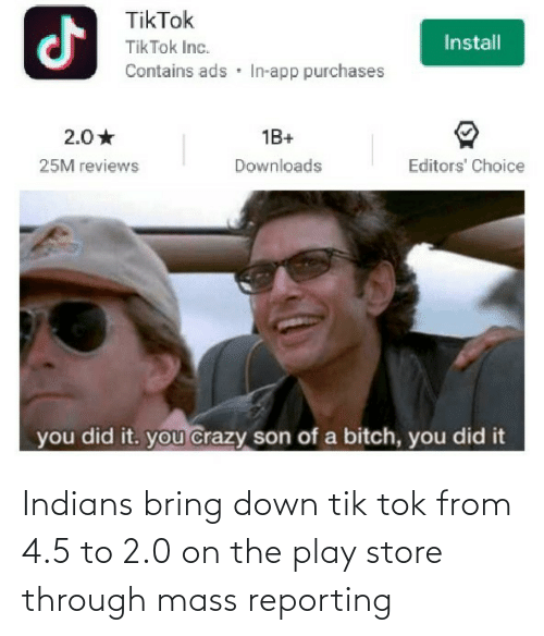 mass: Indians bring down tik tok from 4.5 to 2.0 on the play store through mass reporting