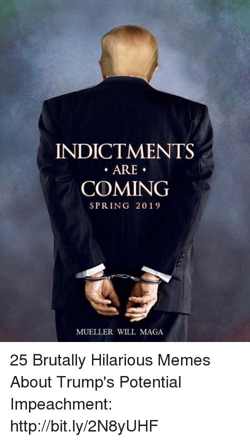 Memes, Http, and Spring: INDICTMENTS  ARE-  COMING  SPRING 2019  MUELLER WILL MAGA 25 Brutally Hilarious Memes About Trump's Potential Impeachment: http://bit.ly/2N8yUHF