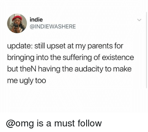 Omg, Parents, and Ugly: indie  @INDIEWASHERE  update: still upset at my parents for  bringing into the suffering of existence  but theN having the audacity to make  me ugly too @omg is a must follow