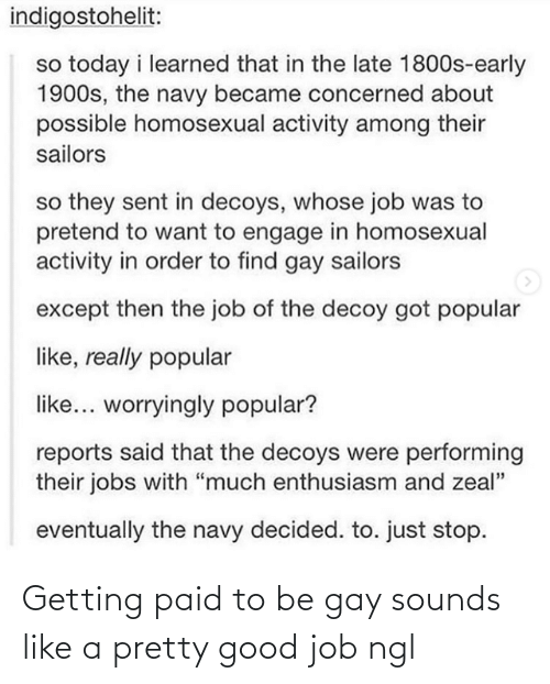 "the job: indigostohelit:  so today i learned that in the late 1800s-early  1900s, the navy became concerned about  possible homosexual activity among their  sailors  so they sent in decoys, whose job was to  pretend to want to engage in homosexual  activity in order to find gay sailors  except then the job of the decoy got popular  like, really popular  like... worryingly popular?  reports said that the decoys were performing  their jobs with ""much enthusiasm and zeal""  eventually the navy decided. to. just stop. Getting paid to be gay sounds like a pretty good job ngl"