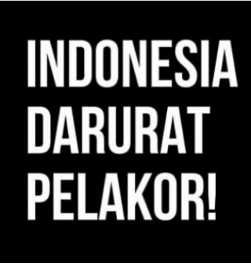 Indonesia and Indonesian (Language): INDONESIA  DARURAT  PELAKOR