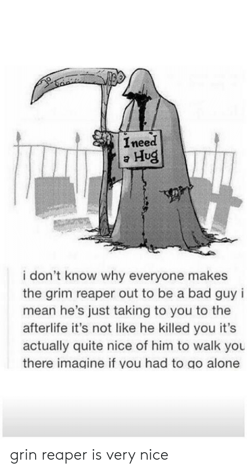 you there: Ineed  Hug  i don't know why everyone makes  the grim reaper out to be a bad guy i  mean he's just taking to you to the  afterlife it's not like he killed you it's  actually quite nice of him to walk you  there imagine if you had to go alone grin reaper is very nice