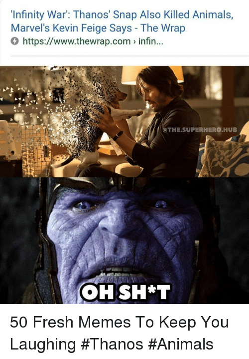 Animals, Fresh, and Memes: 'Infinity War: Thanos' Snap Also Killed Animals,  Marvel's Kevin Feige Says - The Wrap  0 https://www.thewrap.com infin...  @THE.SUPERHERO HUB 50 Fresh Memes To Keep You Laughing #Thanos #Animals