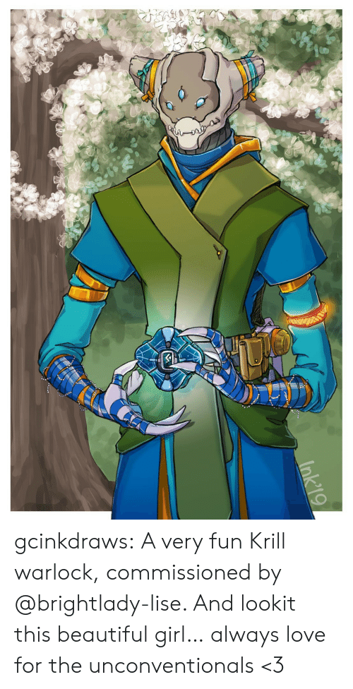 Beautiful, Love, and Tumblr: Ink'19 gcinkdraws:  A very fun Krill warlock, commissioned by @brightlady-lise. And lookit this beautiful girl… always love for the unconventionals <3