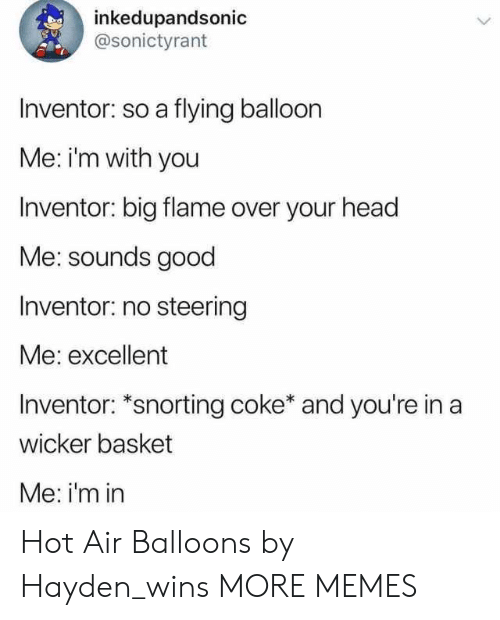 Snorting: inkedupandsonic  @sonictyrant  Inventor: so a flying balloon  Me: im with you  Inventor: big flame over your head  Me: sounds good  Inventor: no steering  Me: excellent  Inventor: *snorting coke* and you're in a  wicker basket  Me: i'm in Hot Air Balloons by Hayden_wins MORE MEMES