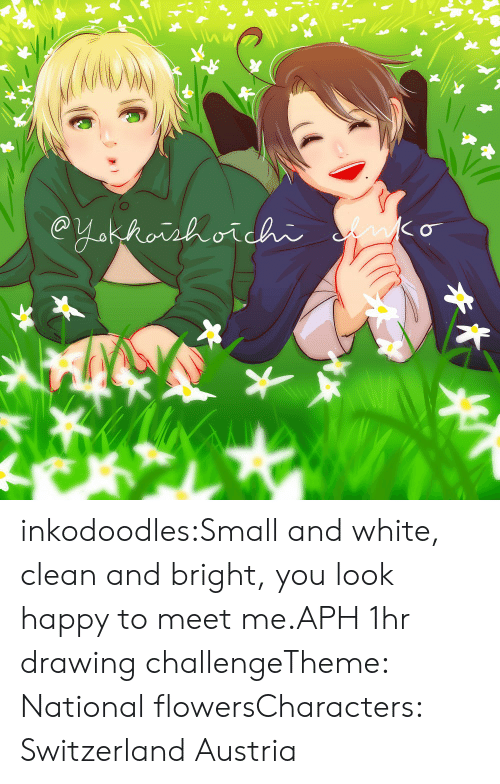 Meet Me: inkodoodles:Small and white, clean and bright, you look happy to meet me.APH 1hr drawing challengeTheme: National flowersCharacters: Switzerland  Austria
