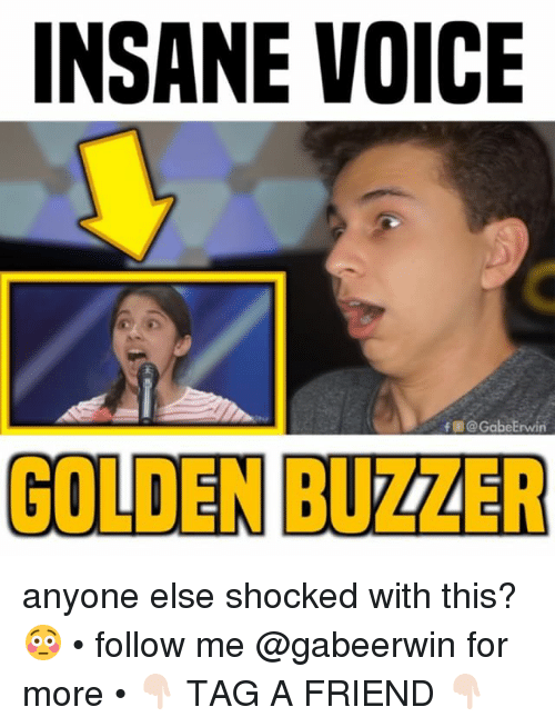 Memes, Voice, and 🤖: INSANE VOICE  f @ GabeErwin  GOLDEN BUZZER anyone else shocked with this? 😳 • follow me @gabeerwin for more • 👇🏻 TAG A FRIEND 👇🏻